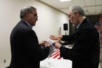 "Rep Jeff Miller (left) is briefed on ""region-building,"" Nov 11, 2013.  Photo: Mike Moring"