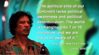AU - Qaddafi at AU Meeting wQuote - AFP photo