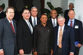 On April 12, 2012 at the State House in Dar es Salaam, President Jakaya Mrisho Kikwete (centre) met with a delegation of five members of the United States' Senate and House of Representatives serving in the Senate and House Armed Services Committees. The delegation led by Senator James Inhofe from Oklahoma (right front row). Others in the picture (from left to right) are Congressman Vernan Buchanan from Florida, Senator John Boozman from Arkansas, Congressman Jefferson Miller from Florida, U.S. Ambassador to Tanzania Alfonso E. Lenhardt and Congressman Steven Pearce of New Mexico. (Photo: U.S. Embassy, Dar es Salaam)