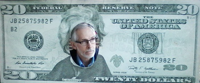 This face cut-out billboard of the Jackson twenty dollar bill is displayed outside the Hermitage, President Andrew Jackson's home in Nashville, TN.